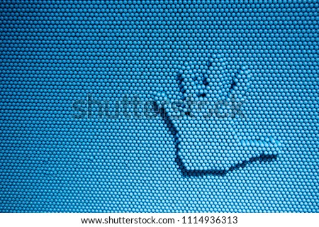 abstract imprint stop hand on blue toy shape for background. #1114936313