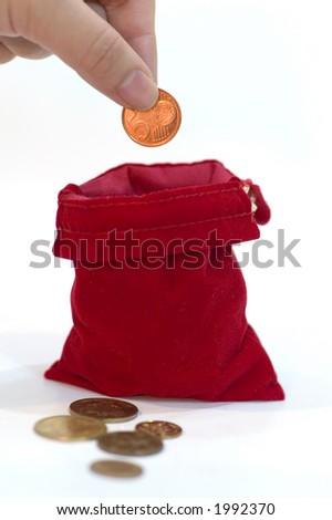 abstract: income, put coin in a red bag