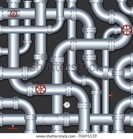 Abstract Industrial Background with chaotic pipes construction