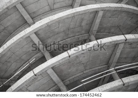 Abstract industrial gray concrete building under construction