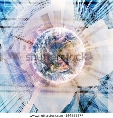 abstract industry stereographic background collage- elements of this image furnished by NASA