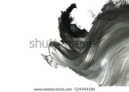 Abstract ink background. Marble style. Black and white paint stroke texture. Macro image of spackling paste. Wallpaper for web and game design. Drywall mud art. Smear of painterly plaster on paper.