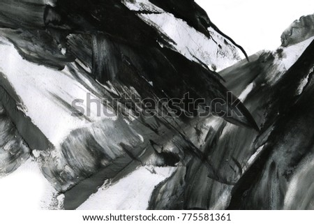 Abstract ink background. Marble style. Black paint stroke texture on white paper. Wallpaper for web and game design. Grunge. Dark Smear. Ink artwork. Artistic abstract frame. Interior design picture #775581361