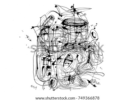 Abstract ink lines grunge background. Musical theme background. Ink painting painted with stick.