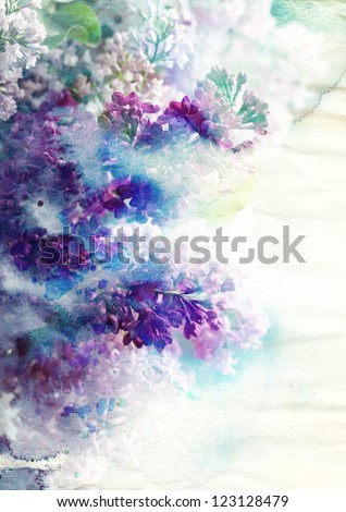 Abstract ink painting combined with Lilac flowers on paper texture