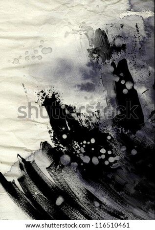 Abstract ink painting on grunge paper texture