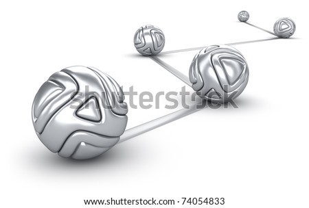 Abstract interconnected silver balls background