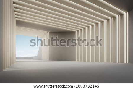 Abstract interior design 3D rendering of modern showroom. Empty floor for car park and concrete wall with wall light and blue sky background.