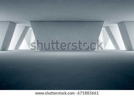 Abstract interior design of modern showroom with empty floor and concrete wall background - 3d rendering