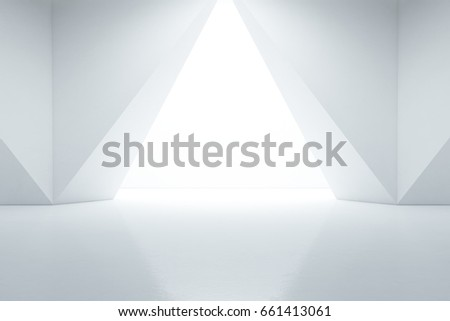 Abstract interior design of modern showroom with empty floor and white wall background - 3d rendering