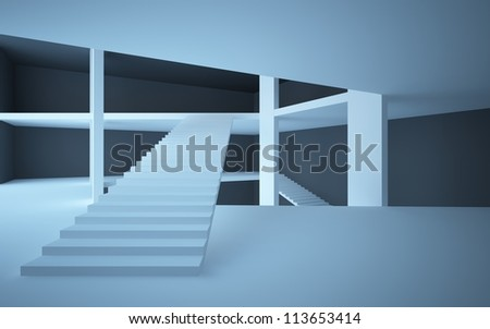 Abstract interior in minimalism style with stairs and columns
