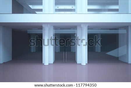 abstract interior mall with classical columns and stairs