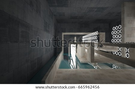 Abstract interior of concrete with blue water. Architectural background. 3D illustration and rendering  - Shutterstock ID 665962456
