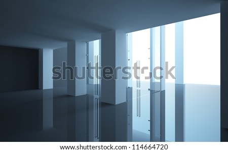 abstract interior office or shop with glass doors and a sloping ceiling