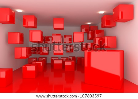 Abstract interior rendering with empty room color box display.