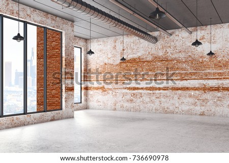 Abstract interior with city view and empty brick wall. Mock up, 3D Rendering