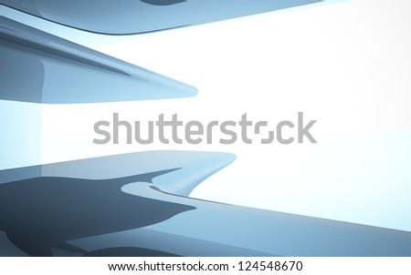 Abstract Interior With Glossy Black Sculpture Stock Photo ...