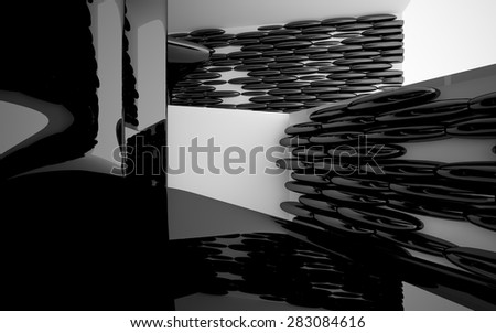 Abstract interior with glossy black sculpture #283084616