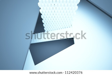 Abstract interior with stairs and walls made of human skulls