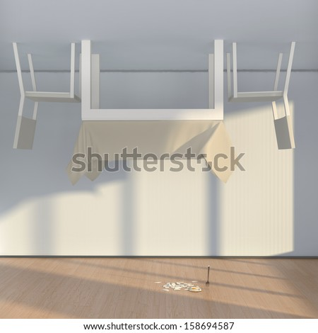 abstract interior with table, chairs and fried egg, lying down on the floor #158694587