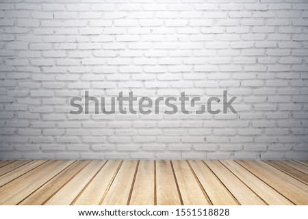 Abstract interior with white brick wall, wooden floor and copy space. Mock up, 3D Rendering