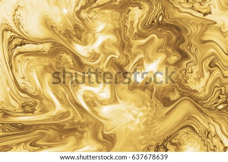 Abstract intricate swirly golden texture. Fantasy fractal background in white and yellow colors. Digital art. 3D rendering. #637678639