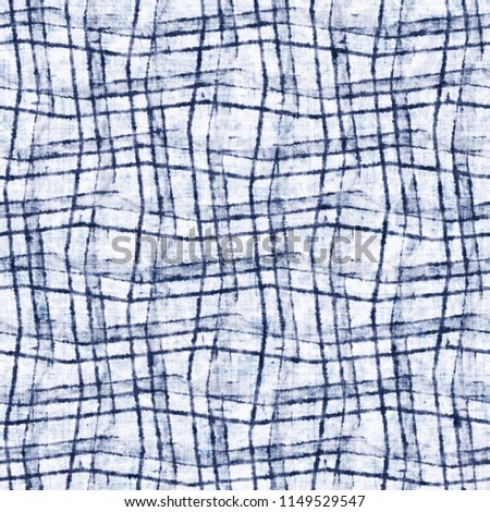 Abstract Irregular Checked Motif In Shades Of Mottled Indigo And White. Seamless Pattern. #1149529547