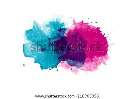 Abstract isolated watercolor stain - stock photo