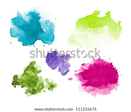 Abstract isolated watercolor stains