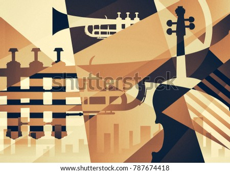 Abstract Jazz Art, Music instruments, Trumpet contrabass saxophone