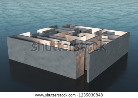 Abstract labyrinth background. Challenge and risk concept. 3D Rendering