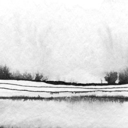 Abstract landscape ink hand drawn illustration. Black and white ink winter landscape with river. Minimalistic hand drawn illustration card background poster banner. Hand drawn watercolor black lines.