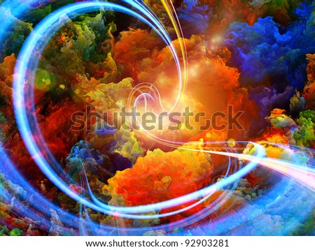 Abstract landscape of colorful fractal foam, light trails and lights suitable as a backdrop for art, music, fantasy and imagination related projects