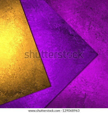 abstract layer background geometric shape blocks, bright colorful purple background gold pink paper styled poster or banner, fun paint grunge background texture canvas, modern abstract art design