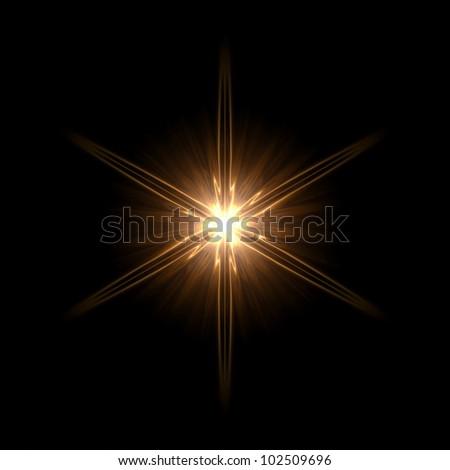 abstract lens flare light hexagram over dark background