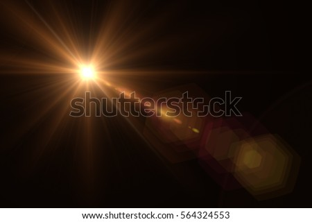Abstract lens flare light over black background