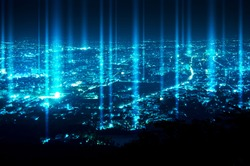 abstract light beam over night blue city background