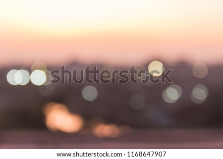 abstract light bokeh on twilight in the evening view from terrace room  #1168647907