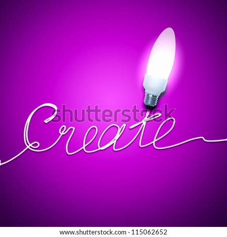 Abstract Light Bulb with the word Create on pink background.