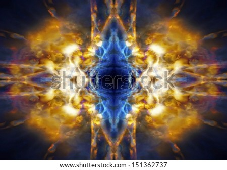 Abstract light burst against a dark blue background