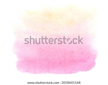 Abstract light pink watercolor on white background. Paint strokes on raw paper.