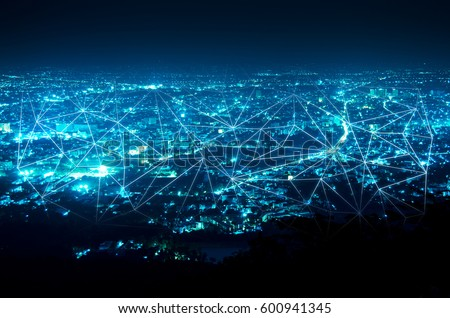 abstract line connection on night city background #600941345