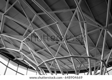 Abstract lines on architecture.  modern architecture detail. Refined fragment of contemporary office interior / public building. - Shutterstock ID 648904669
