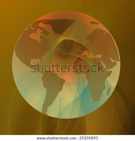 Abstract lines with integrated globe in it - stock photo