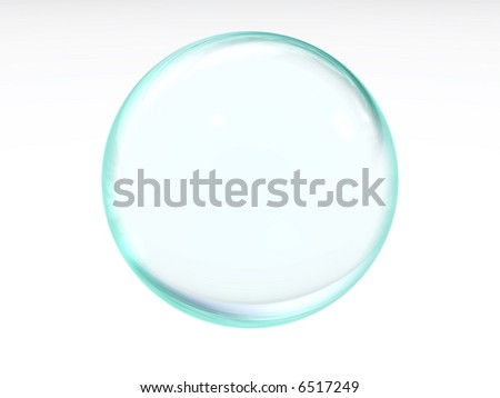 abstract liquid blue transparent ball with the specks of light and reflections on a white background