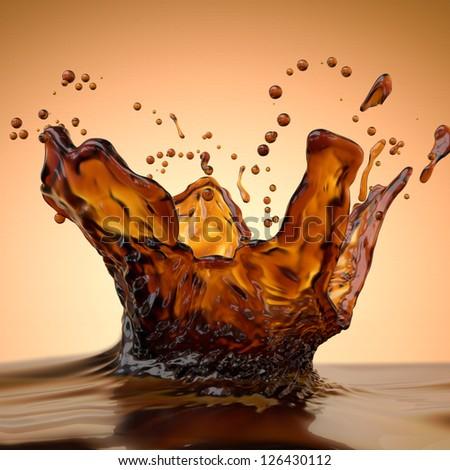 abstract liquid splash of brown hot coffee on orange background