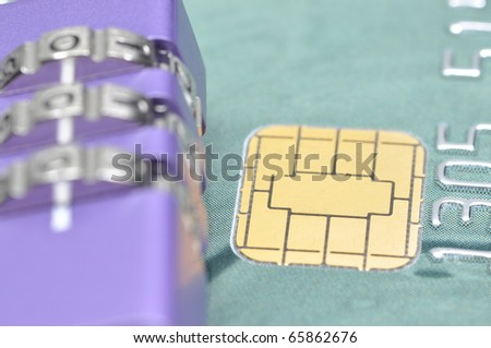 Abstract lock your credit card - stock photo