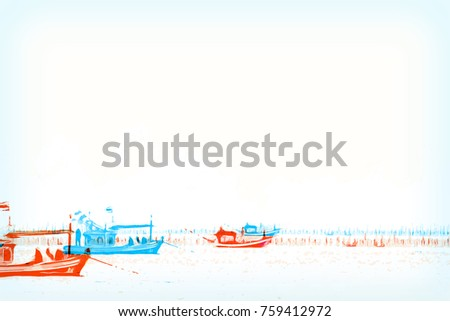 Abstract Long boat fishing in sea, Fishing boat on watercolor paining background and colorful splash brush to art.
