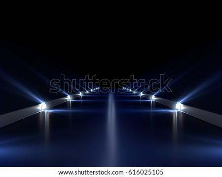 Abstract long dark empty tunnel interior with blue lights illumination. Digital 3d render illustration