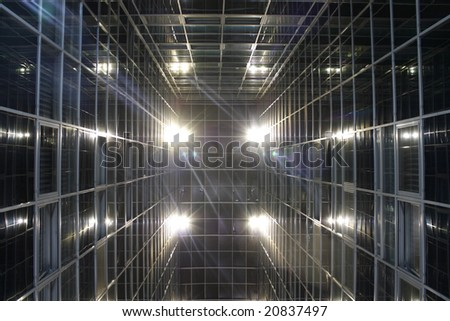 abstract looking building and lights in a futuristic perspective